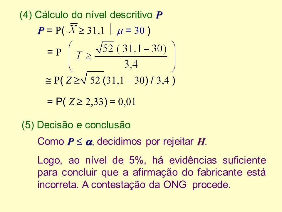 (4) Cálculo do nível descritivo P