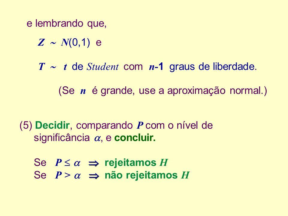 e lembrando que, Z  N(0,1) e. T  t de Student com n-1 graus de liberdade. (Se n é grande, use a aproximação normal.)