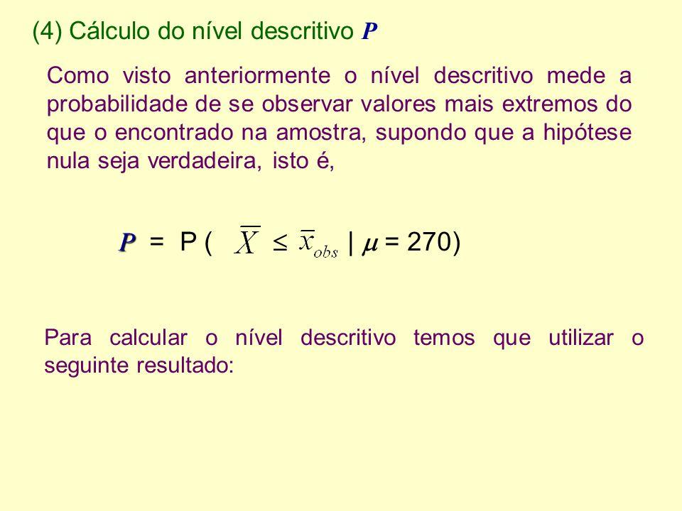 P = P (  |  = 270) (4) Cálculo do nível descritivo P