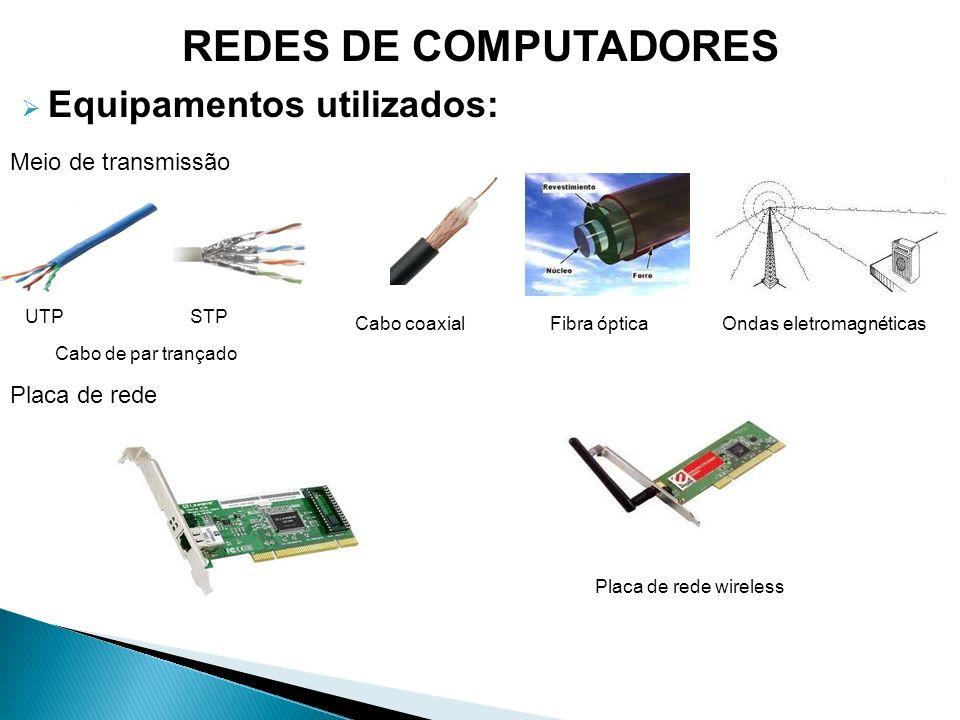 REDES DE COMPUTADORES Equipamentos utilizados: Meio de transmissão