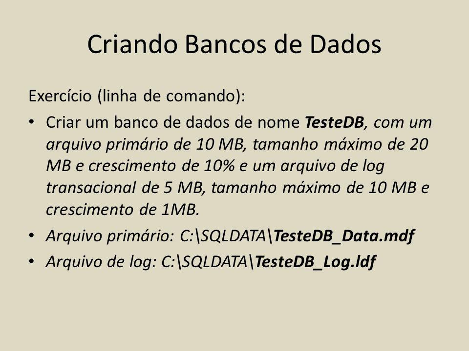 Criando Bancos de Dados
