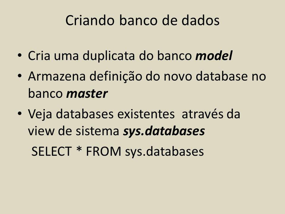 Criando banco de dados Cria uma duplicata do banco model