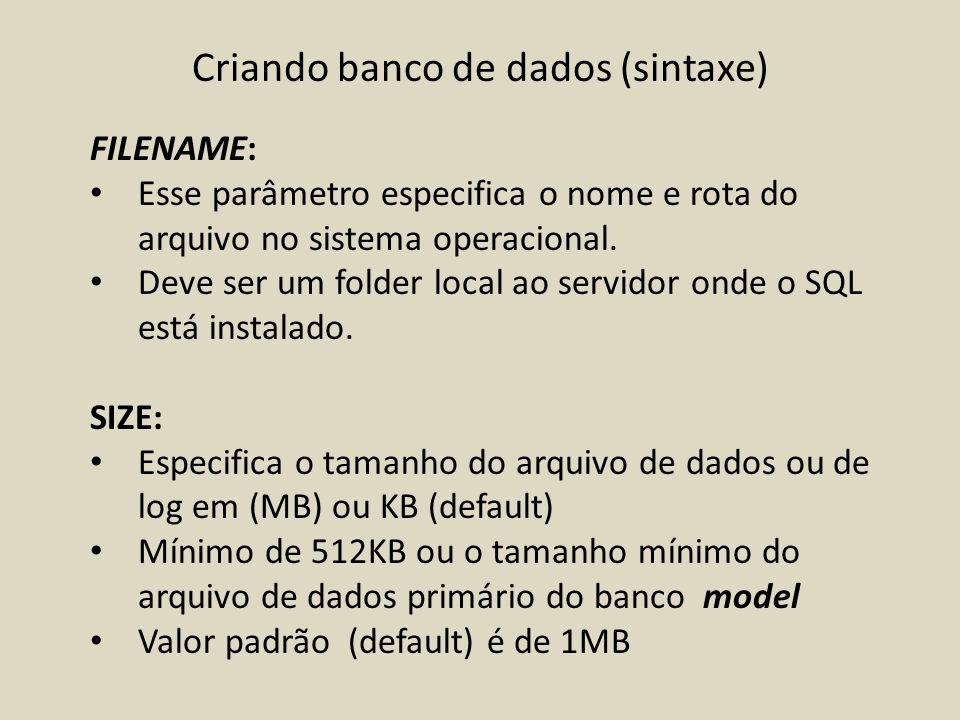 Criando banco de dados (sintaxe)