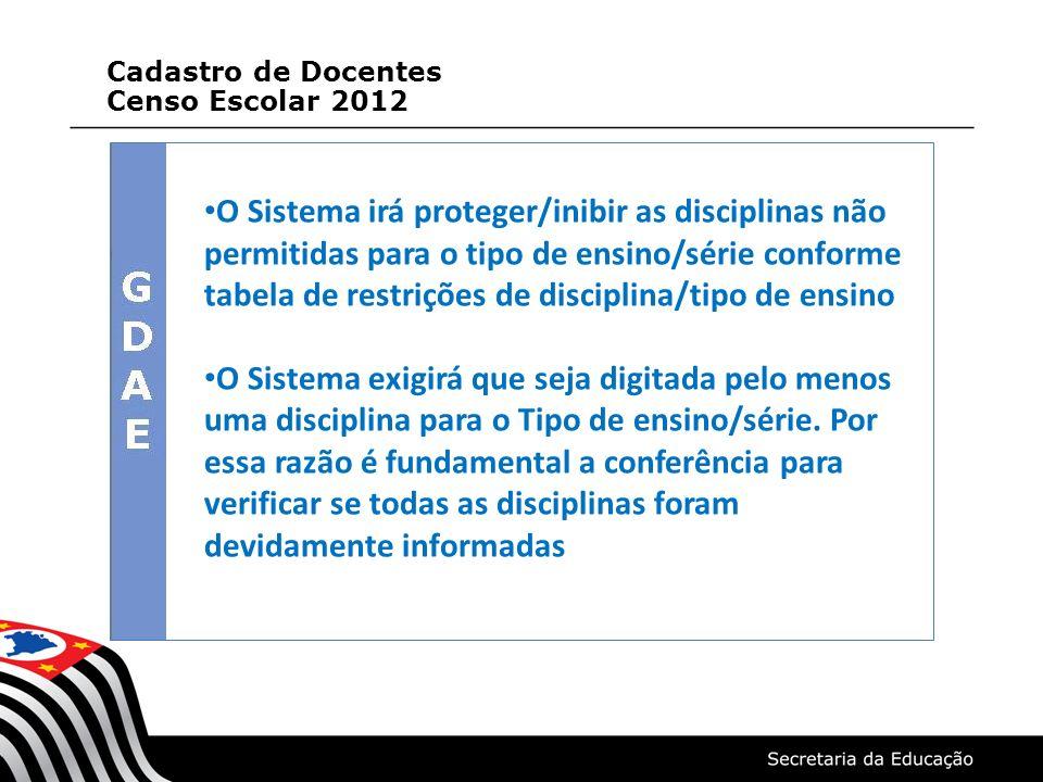 Cadastro de Docentes Censo Escolar 2012.