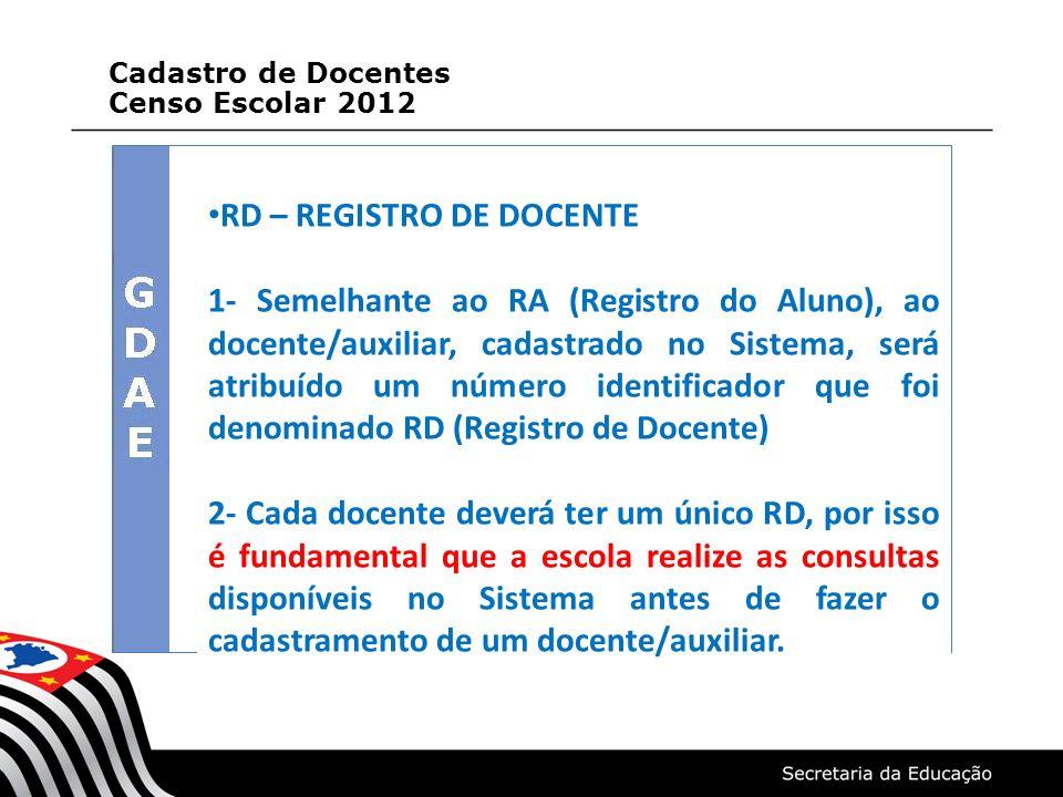 RD – REGISTRO DE DOCENTE