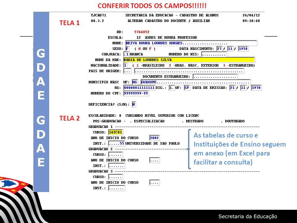 CONFERIR TODOS OS CAMPOS!!!!!!
