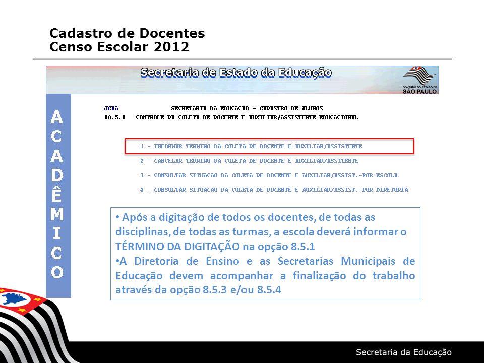 Cadastro de Docentes Censo Escolar 2012