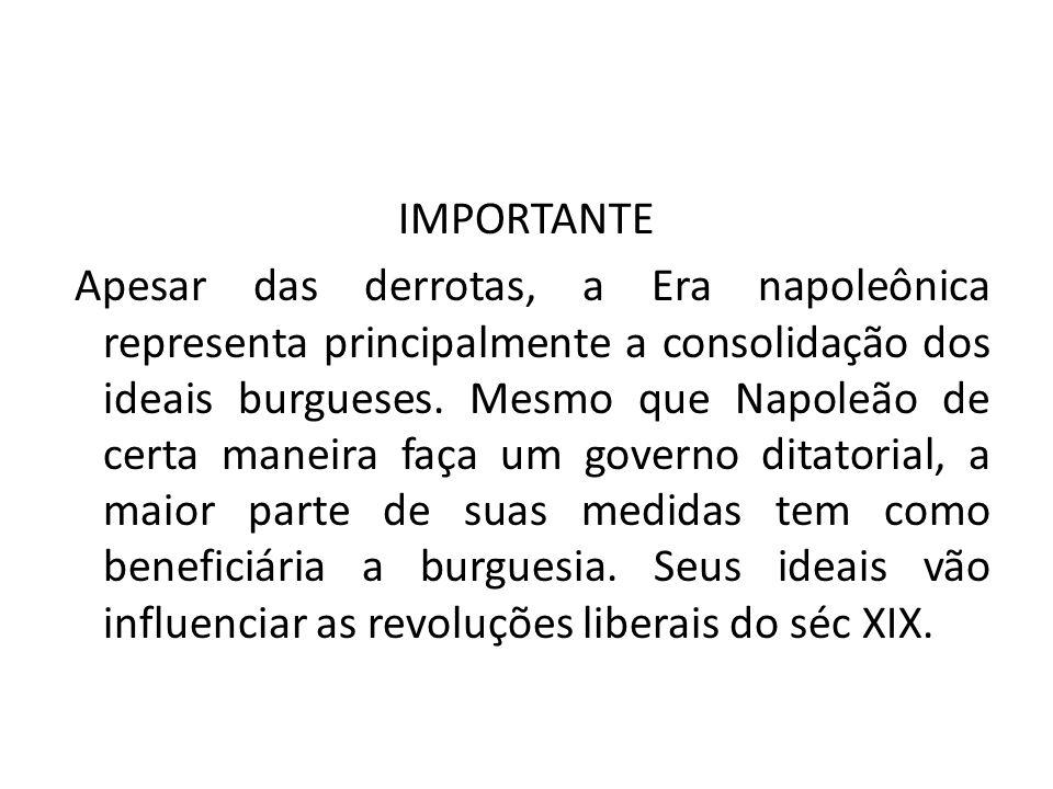 IMPORTANTE Apesar das derrotas, a Era napoleônica representa principalmente a consolidação dos ideais burgueses.