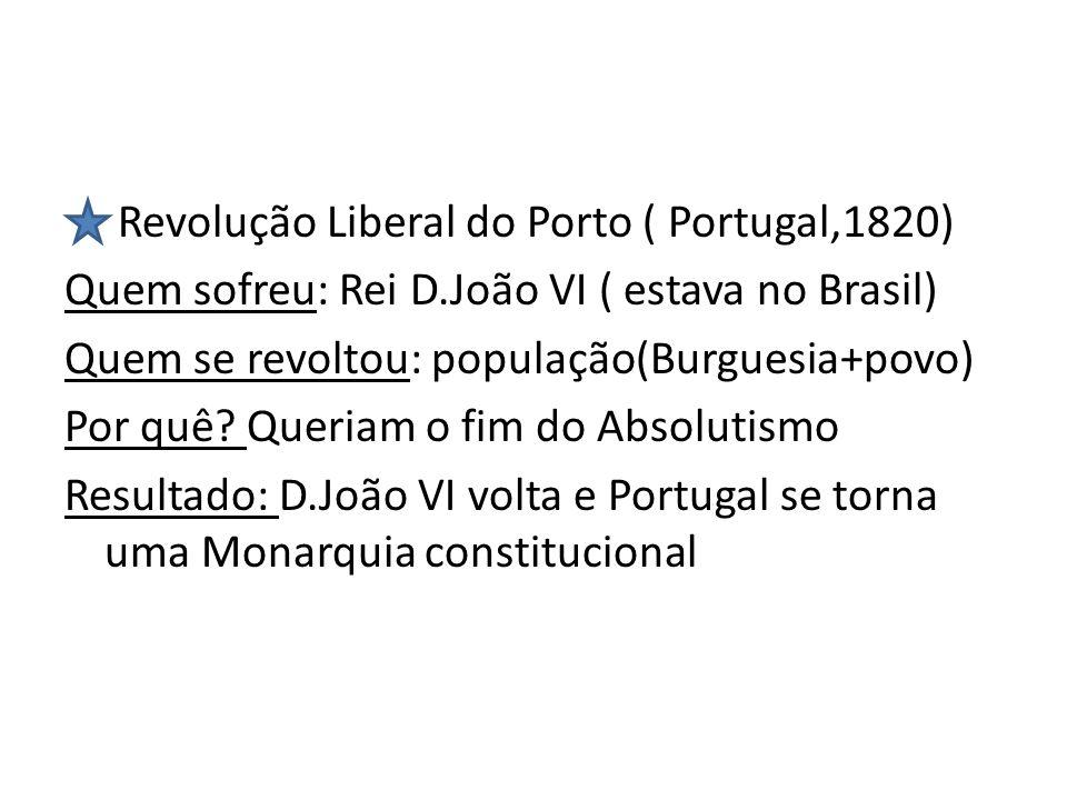 Revolução Liberal do Porto ( Portugal,1820) Quem sofreu: Rei D