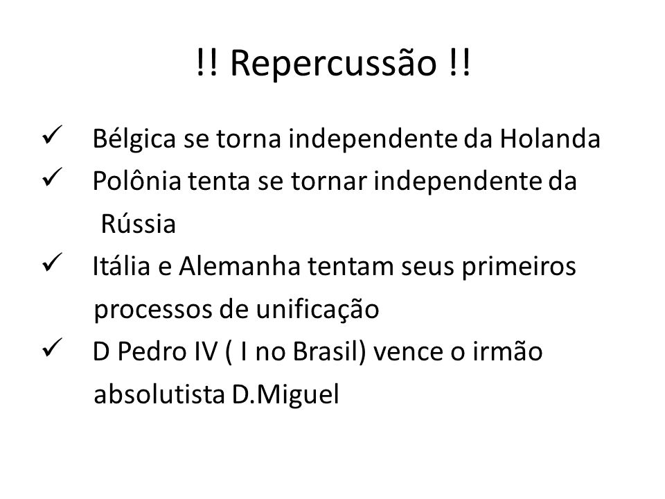 !! Repercussão !! Bélgica se torna independente da Holanda