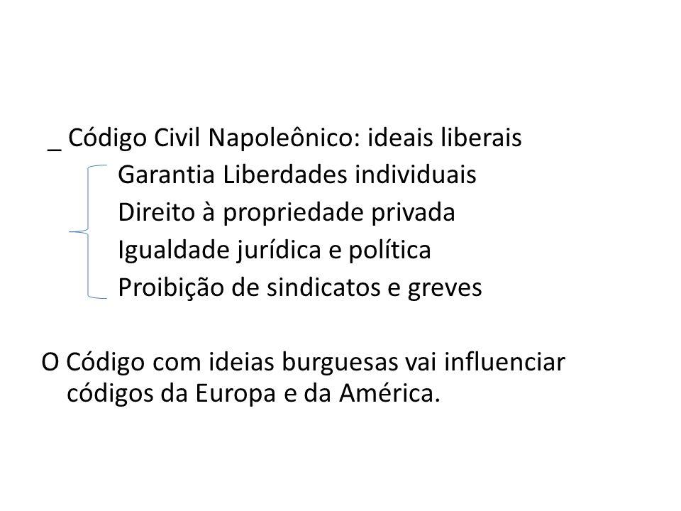 _ Código Civil Napoleônico: ideais liberais Garantia Liberdades individuais Direito à propriedade privada Igualdade jurídica e política Proibição de sindicatos e greves O Código com ideias burguesas vai influenciar códigos da Europa e da América.