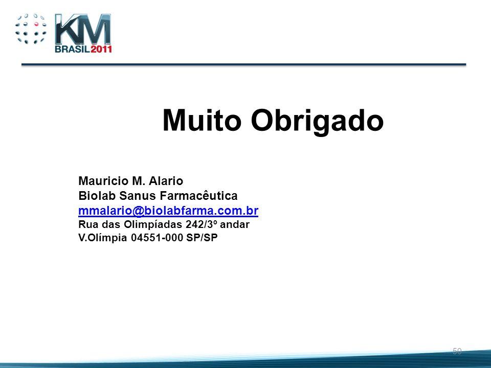 Muito Obrigado Mauricio M. Alario Biolab Sanus Farmacêutica