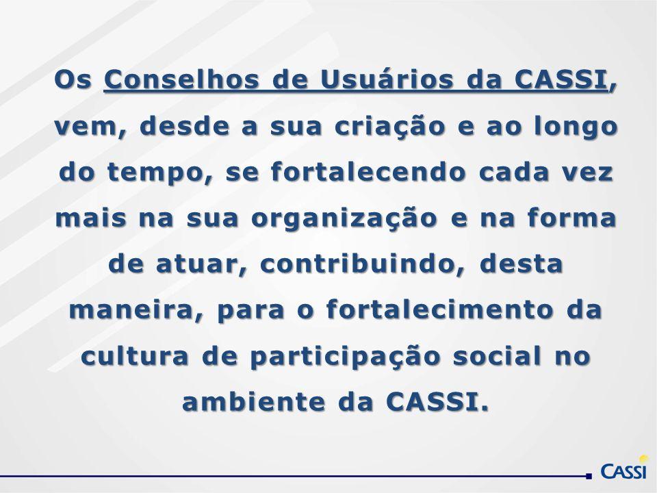 Os Conselhos de Usuários da CASSI, vem, desde a sua criação e ao longo do tempo, se fortalecendo cada vez mais na sua organização e na forma de atuar, contribuindo, desta maneira, para o fortalecimento da cultura de participação social no ambiente da CASSI.