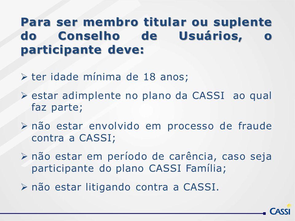 Para ser membro titular ou suplente do Conselho de Usuários, o participante deve: