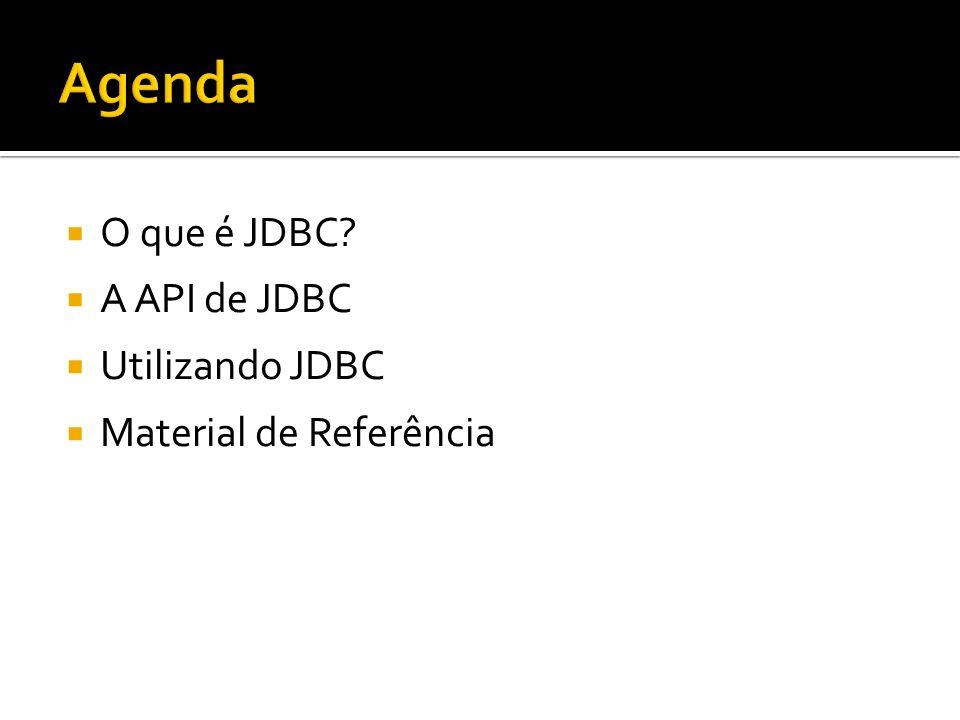 Agenda O que é JDBC A API de JDBC Utilizando JDBC