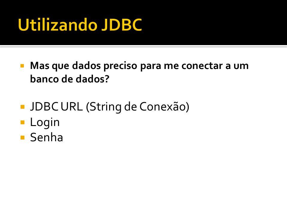 Utilizando JDBC JDBC URL (String de Conexão) Login Senha