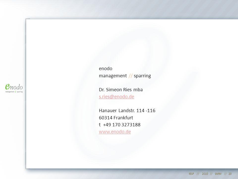 enodo management // sparring Dr. Simeon Ries mba s. ries@enodo