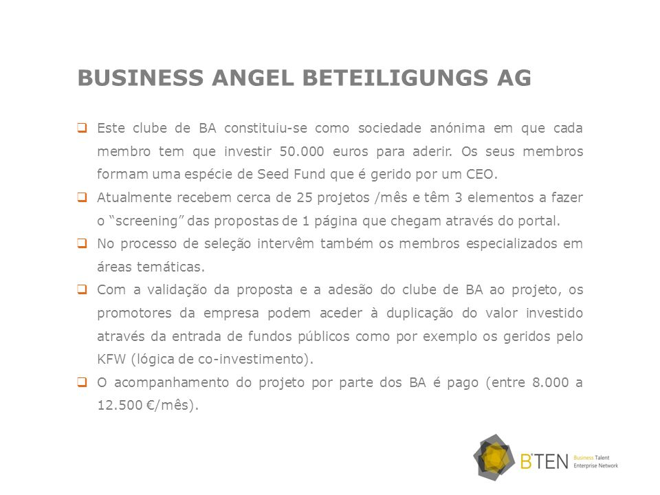 BUSINESS ANGEL BETEILIGUNGS AG