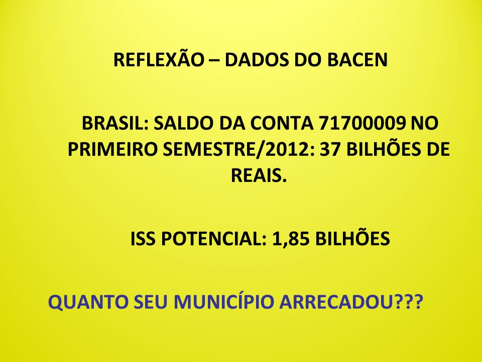 REFLEXÃO – DADOS DO BACEN ISS POTENCIAL: 1,85 BILHÕES