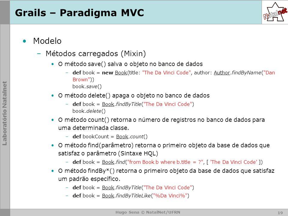 Grails – Paradigma MVC Modelo Métodos carregados (Mixin)
