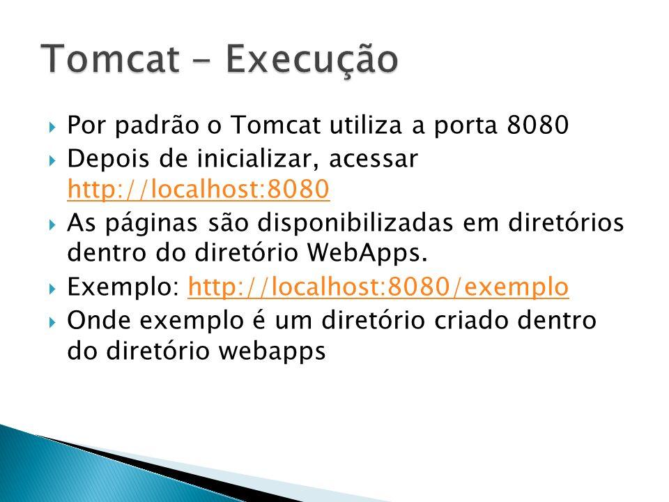 Tomcat - Execução Por padrão o Tomcat utiliza a porta 8080