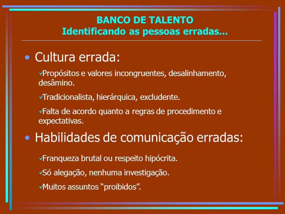 BANCO DE TALENTO Identificando as pessoas erradas...