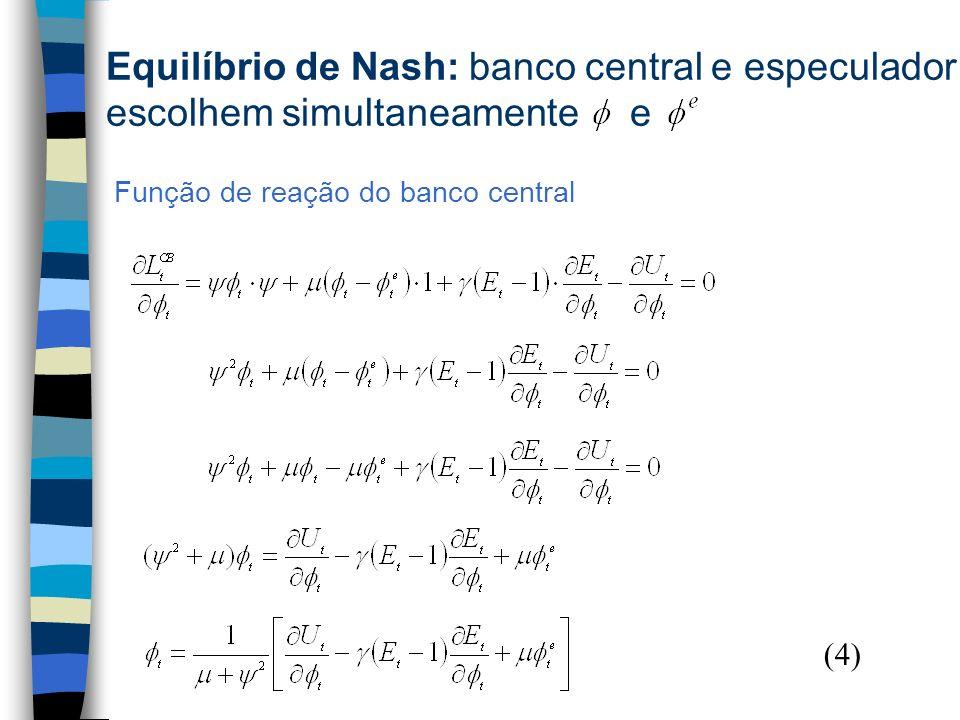 Equilíbrio de Nash: banco central e especulador escolhem simultaneamente e