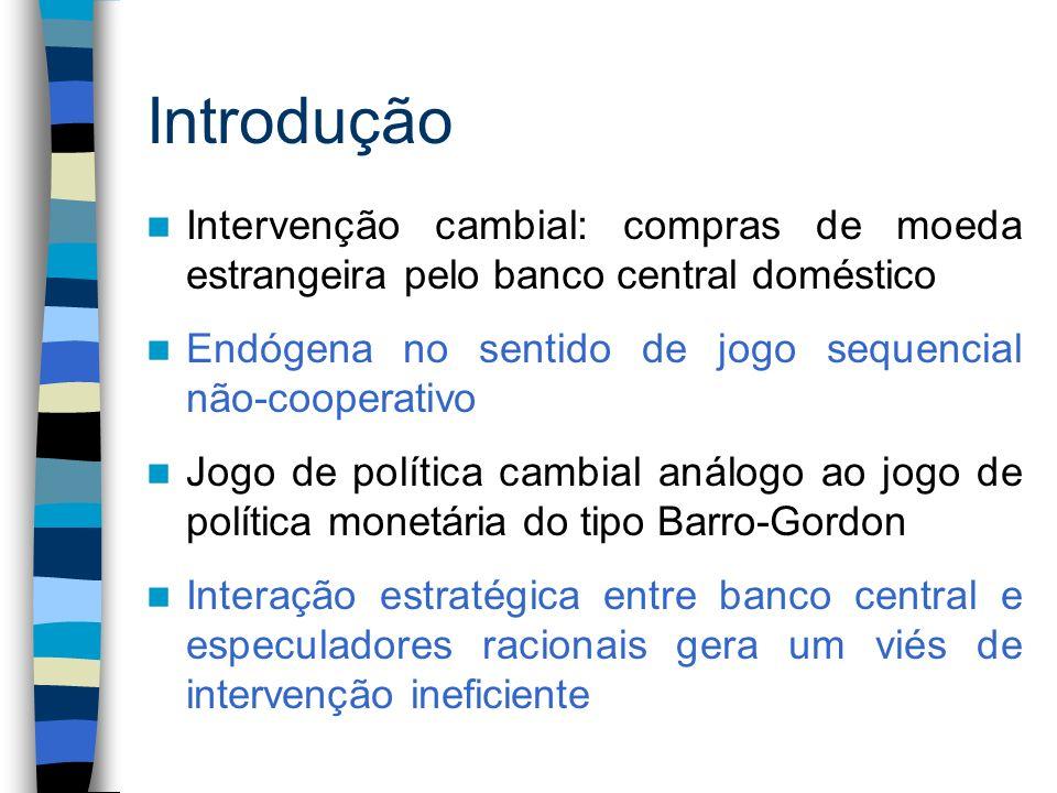 Introdução Intervenção cambial: compras de moeda estrangeira pelo banco central doméstico. Endógena no sentido de jogo sequencial não-cooperativo.