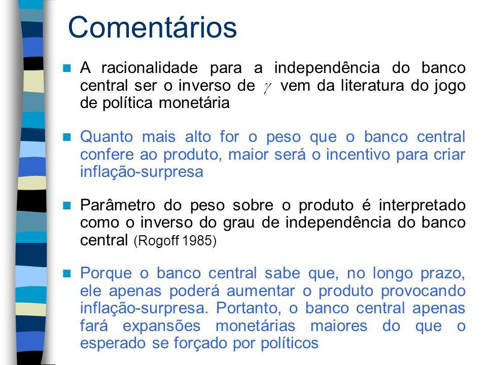 Comentários A racionalidade para a independência do banco central ser o inverso de vem da literatura do jogo de política monetária.