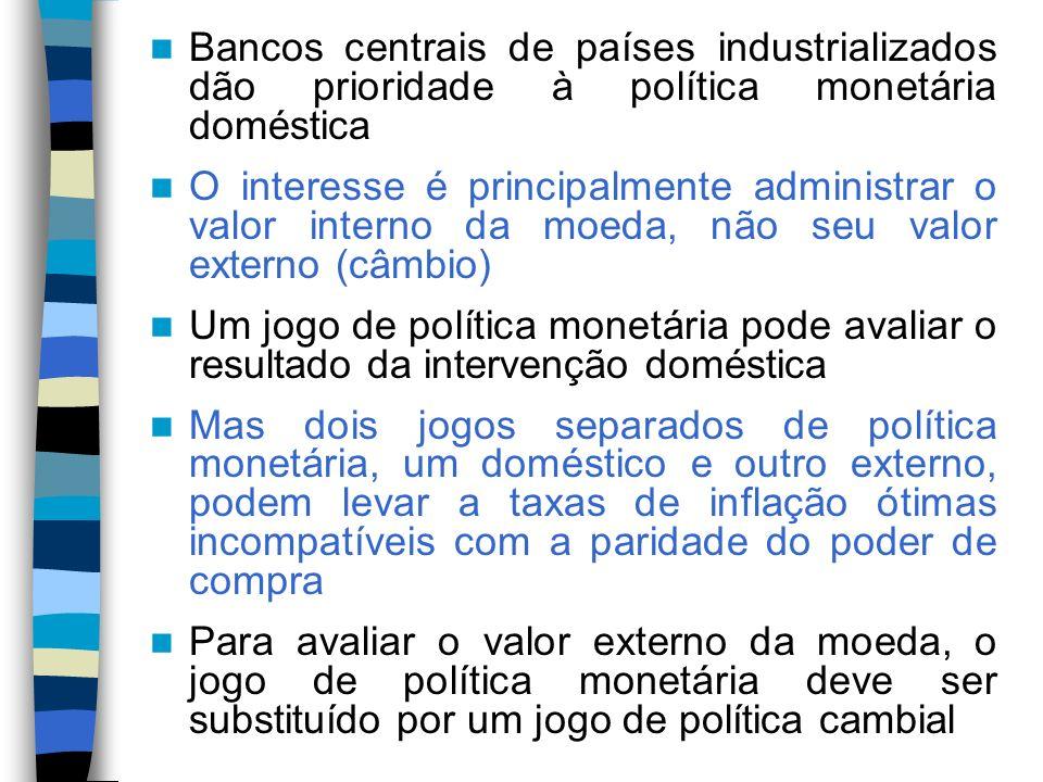 Bancos centrais de países industrializados dão prioridade à política monetária doméstica