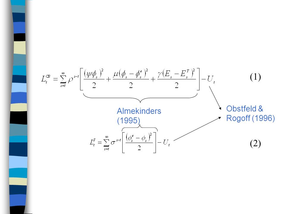 (1) Obstfeld & Rogoff (1996) Almekinders (1995) (2)