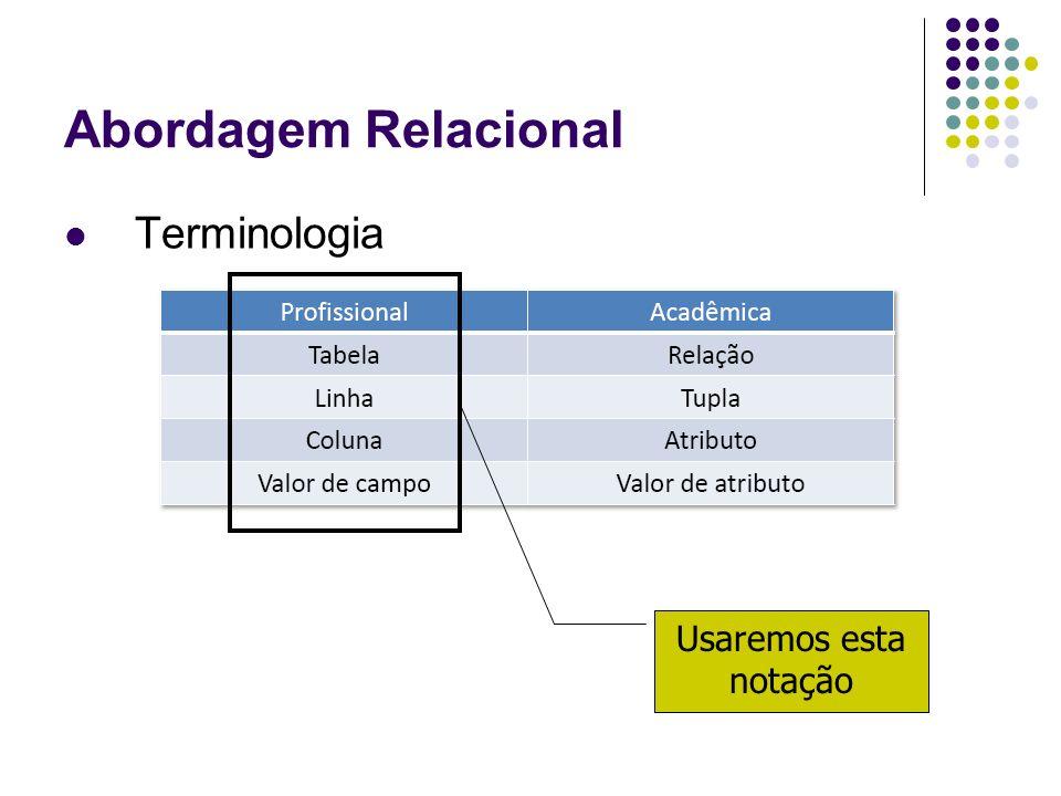 Abordagem Relacional Terminologia Usaremos esta notação