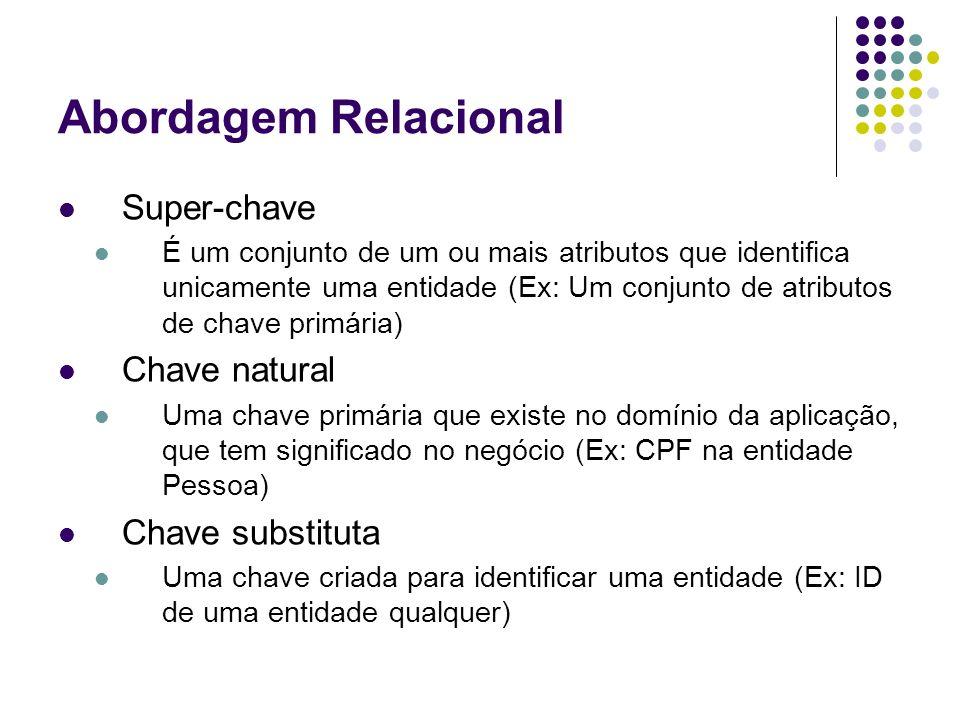 Abordagem Relacional Super-chave Chave natural Chave substituta