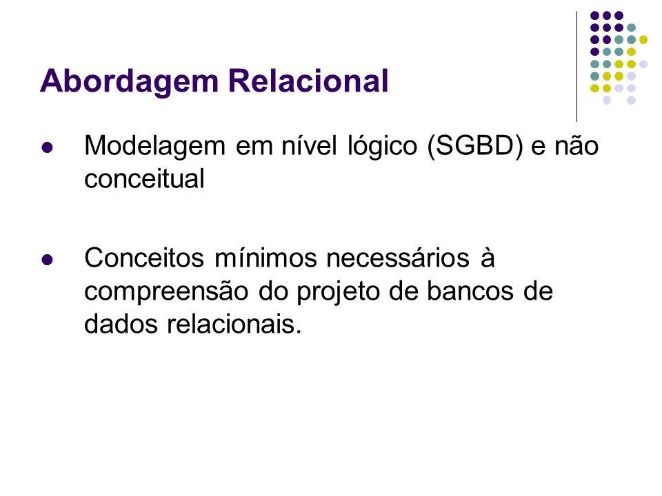 Abordagem Relacional Modelagem em nível lógico (SGBD) e não conceitual