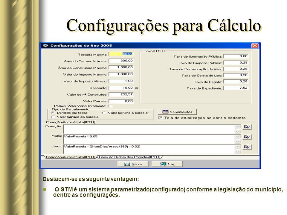 Configurações para Cálculo