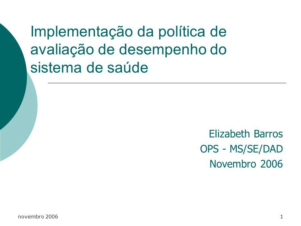 Elizabeth Barros OPS - MS/SE/DAD Novembro 2006