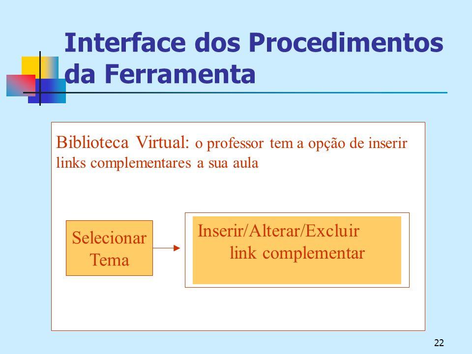 Interface dos Procedimentos da Ferramenta