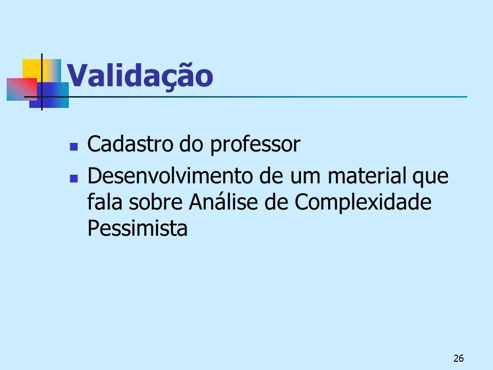 Validação Cadastro do professor