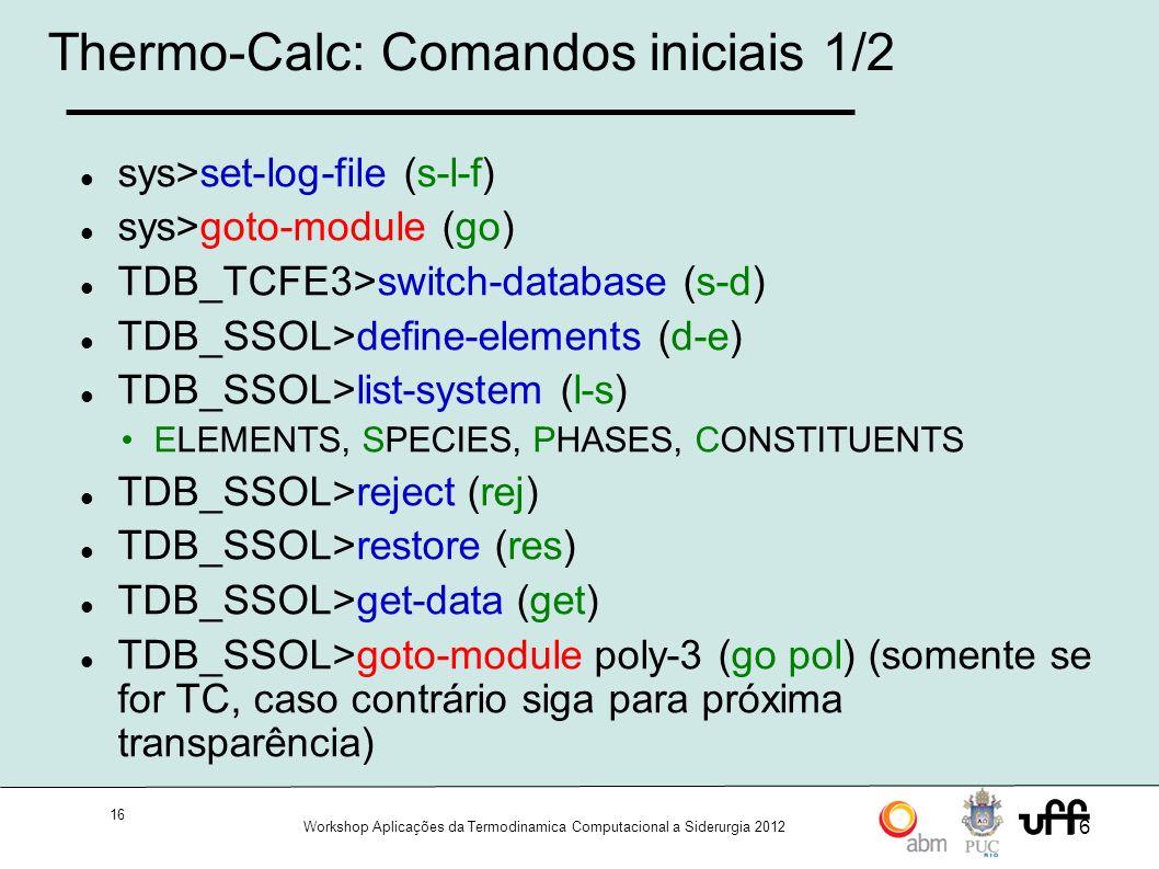 Thermo-Calc: Comandos iniciais 1/2