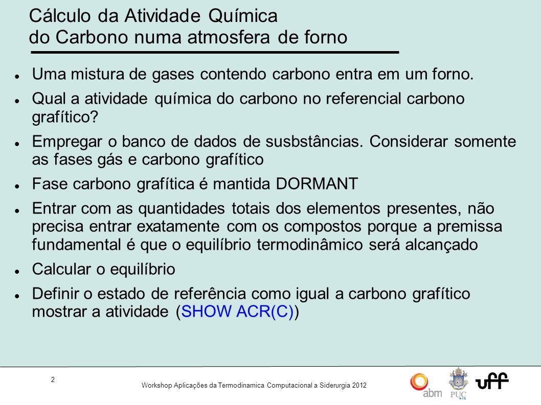 Cálculo da Atividade Química do Carbono numa atmosfera de forno