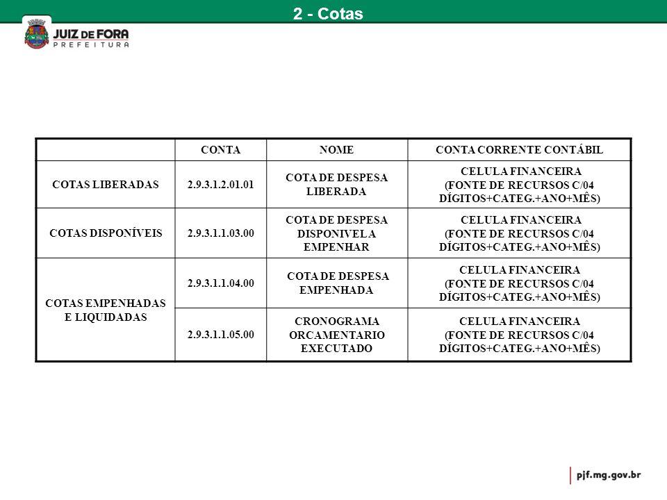 2 - Cotas CONTA NOME CONTA CORRENTE CONTÁBIL COTAS LIBERADAS