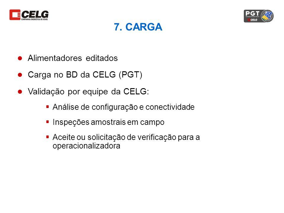 7. CARGA Alimentadores editados Carga no BD da CELG (PGT)