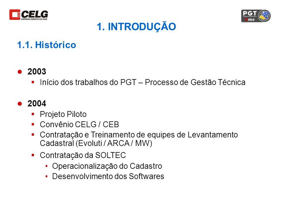 1. INTRODUÇÃO 1.1. Histórico. 2003. Início dos trabalhos do PGT – Processo de Gestão Técnica. 2004.