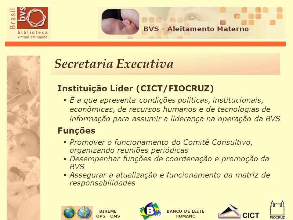 Secretaria Executiva Instituição Líder (CICT/FIOCRUZ) Funções