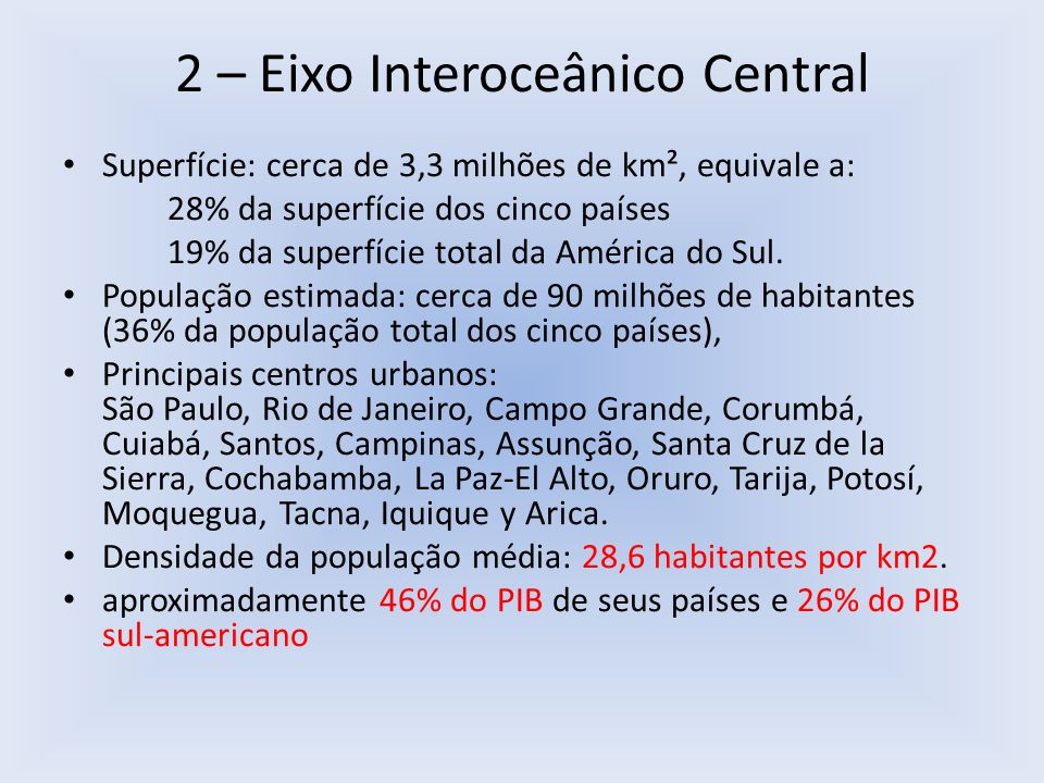2 – Eixo Interoceânico Central