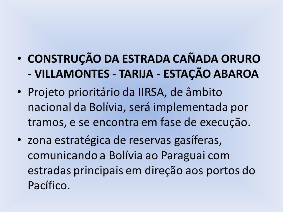 CONSTRUÇÃO DA ESTRADA CAÑADA ORURO - VILLAMONTES - TARIJA - ESTAÇÃO ABAROA