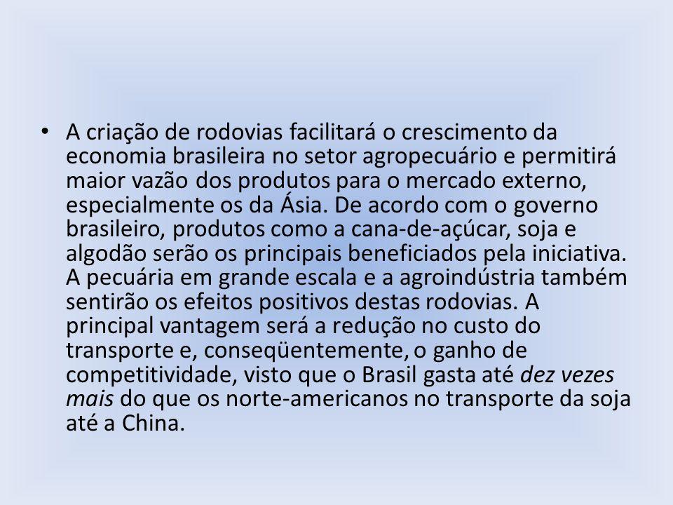 A criação de rodovias facilitará o crescimento da economia brasileira no setor agropecuário e permitirá maior vazão dos produtos para o mercado externo, especialmente os da Ásia.