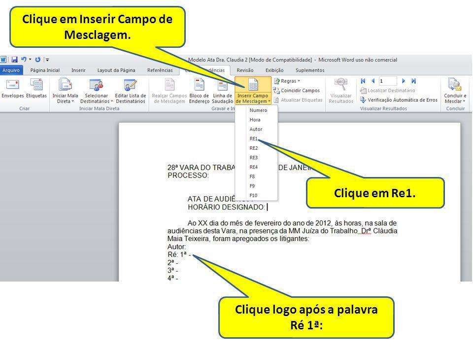 Clique em Inserir Campo de Mesclagem.