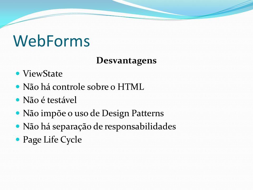 WebForms Desvantagens ViewState Não há controle sobre o HTML