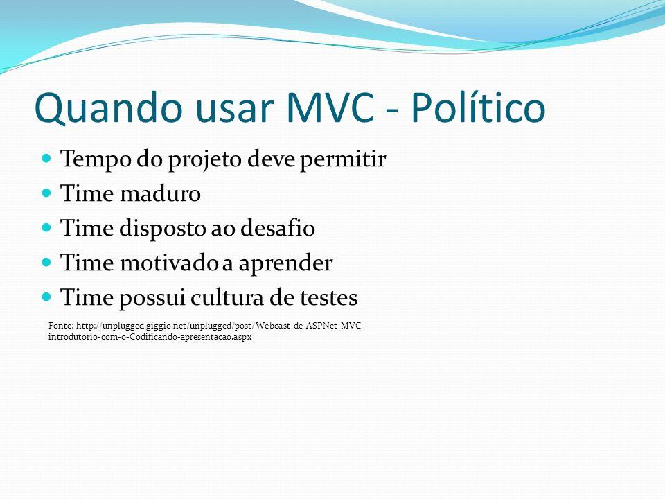 Quando usar MVC - Político